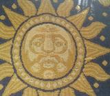 CUSHIONS 3-All COTTON BURLAP-MOSLION WOVEN-SUN FACE w CELESTIAL