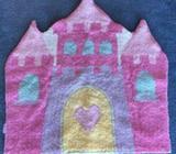 Girls Pink Floor Rug Princess Castle