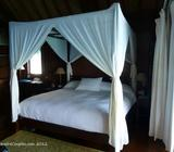 White bed mosquito net canopy