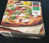 Pizza serving platters and cutter set