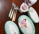 Ice cream plates and bowl and spoons