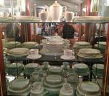 41 Piece Dinner Set White/Gold Metallic Trim Incomplete
