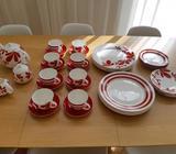 8pc Rhubarb dinnerware set plus tea setting