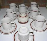 Retro set of 7 cups, 7 Saucers, Sugar bowl and milk jug