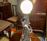 Art Deco Table Lamp ,Couple embrace under a street Lamp
