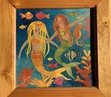 Pine framed mermaid and seahorse decoupage art