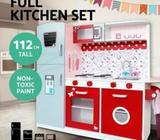 Wooden Kitchen Pretend Play Set Toy Kids Toddlers Home Children