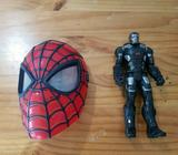 Spiderman mask and Iron Man figure