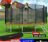 16ft Round Trampoline Basketball Set Safety Net Spring Pad Ladder