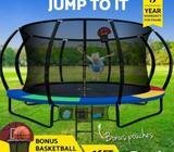 16FT Trampoline Round Trampolines Basketball set Kids Mat Net Pad