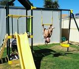 Wooden and Steel Frame Fort with Swing Set Monkey Bar Slide Cubby