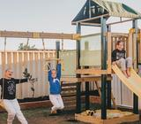 Wooden and Steel Climbing Frame with Slide Swing Set Cubby House