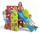 Kids Plastic Cubby House with Slide Rock Climbing Wall