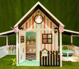Ground Level Wooden Summer Shack Cubby House w Optional Carport