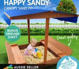 Deluxe Wooden Sandpit Toy Box Kids With Canopy Covered Outdoor